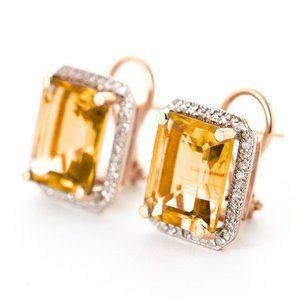 14k Gold Earrings Diamonds & Citrines